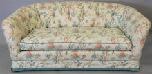 Upholstered sofa with tufted upholstered back. lg. 75in.   Provenance: The Estate of Thomas F Hodgman of Fairfield, Connecticut