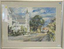Betty Schlemm (1934), watercolor, Firsty Universalist Churc, Cleaves Street, Rockport, Mass, signed lower left: Schlemm, sight size...