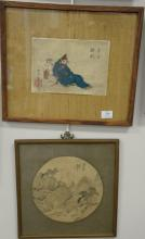 Group of five framed Japanese woodblock prints. sight sizes 9