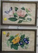 Set of seven 19th century Chinese paintings on rice paper of blossoming flowers and butterflies. 6