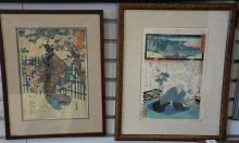 Four framed Japanese woodblock prints, one is a tryptic. sight size 13 1/2
