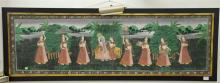 Tibetan mixed media painting on cloth of eight girls with a goddess figure. sight size 17 1/2