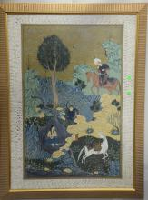 Pair of Tibetan Middle Eastern mixed media on cloth paintings, one landscape with hunter on horse by nude woman bathing and the othe...