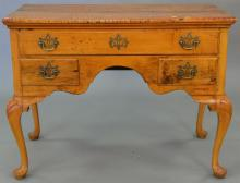 Maple and tiger maple Queen Anne style vanity. ht. 30 1/2 in., top: 20