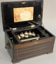 Swiss cylinder music box with six bells and 8 inch cylinder, bells struck by five bee form strikes, in inlaid case, working conditio...