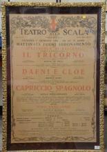 Lithograph poster, Teatro Alla Scala Stagione Lirica (1953-54) IL Tricorno, Dafni E Cloe, Capriccio Spagnolo. poster size: 38