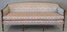 Sheraton style mahogany sofa with custom upholstery by Custom Interiors of Fairfield, CT. wd. 77 in.