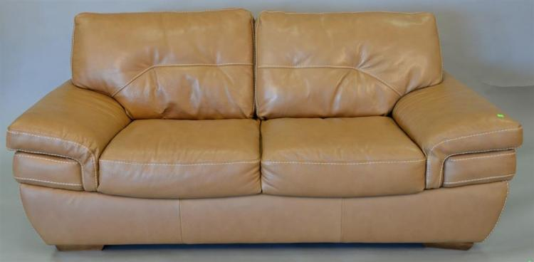 Enjoyable Natuzzi Leather Loveseat Light Brown With White Threading Caraccident5 Cool Chair Designs And Ideas Caraccident5Info