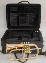Yamaha brass flugelhorn in fitted box, lg. 16 1/2in.