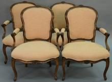Set of four Louis XV style fauteuils, probably 19th century.   height 36 inches   Provenance: The Estate of Thomas F Hodgman...