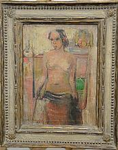 """Alf Jorgen Stromsted (1898-1979) oil on canvas Island nude female model signed Alf J. Stromsted 38, 16"""" x 12""""."""