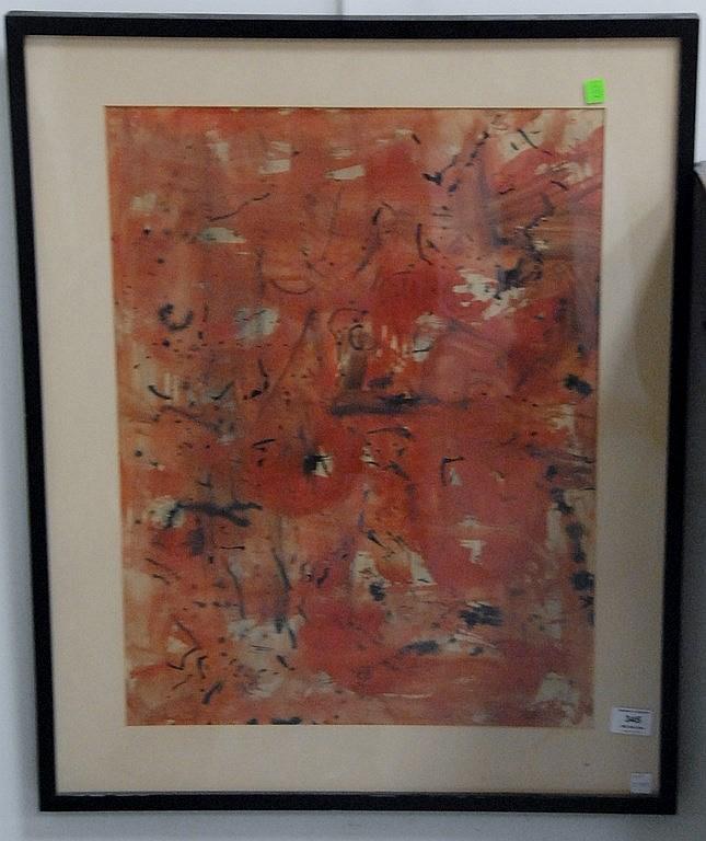 Genichiro Inokuma (1902-1993)  AT GARDNER LAKE  abstract watercolor  signed lower right Guen Inokuma 1961  24