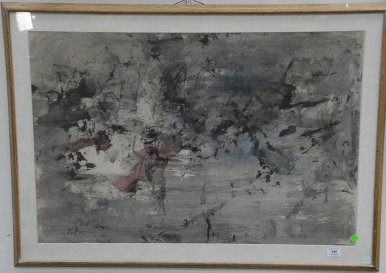 Genichiro Inokuma (1902-1993)  ABSTRACT  watercolor  signed lower left Guen  24