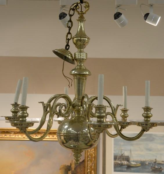 Pair Of Brass Chandeliers Approximate Ht 34in Approximat