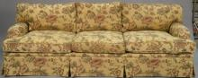 Two piece lot to include custom sofa and loveseat attributed to J. Robert Scott, copper staples, lg. 95in. & 66in.