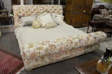Custom upholstered and tufted king size bed, head, foot, and side rails. ht. 46 1/2in.