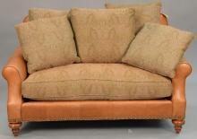 Grange leather loveseat with cloth upholstered cushions, made exclusively for Grange. ht. 36in., wd. 59in.