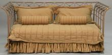 Contemporary iron day bed complete with mattress and bedding. ht. 38in., lg. 88in., dp. 47in.