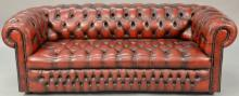 House of Chesterfield sofa in tufted leather, labeled on back House of Chesterfield. sofa lg. 78in.