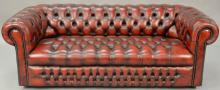 House of Chesterfield sofa, tufted leather upholstery, labeled on back House of Chesterfield, sofa wd. 78in.