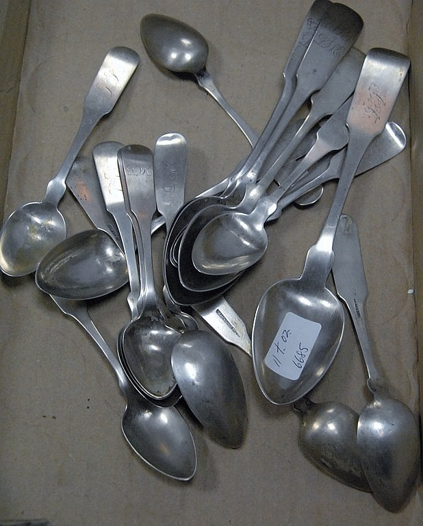Coin silver spoons, 11 t oz.
