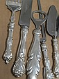 Sterling silver lot to including serving pieces 8.5 t oz. plus six handles and some silver plated items.