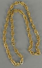 18K gold chain with round and oval links. lg. 33in. 47.2 grams