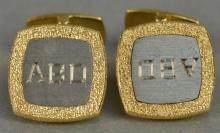 Pair of 18K cufflinks marked Germany CB, monogramed ABD. 25 grams