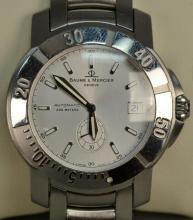 Baume & Mercier round wristwatch automatic stainless steel with box.