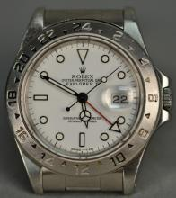 Rolex stainless steel Explorer II wristwatch white dial, extra bezel, model 16570, sn-x520081.