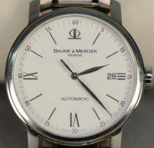 Baume & Mercier automatic round stainless steel wristwatch with box.
