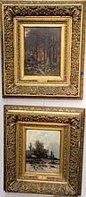 Franz Van Severdonck (1809-1889) and G. Schneider pair of oil on panel paintings Fall and Winter Farm Landscapes signed and...