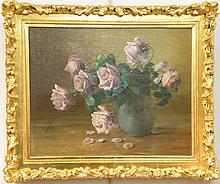 Charles Ethan Porter (1847-1923) oil on canvas still life Purple Roses signed lower left: C.E. Porter relined 16