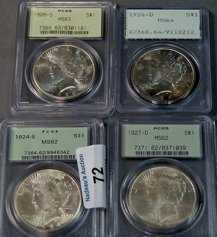 Four silver dollars; 1924-S PCGS 62, 1926-D PCGS 64, 1926-S PCGS 63, and 1927-D PCGS 62.