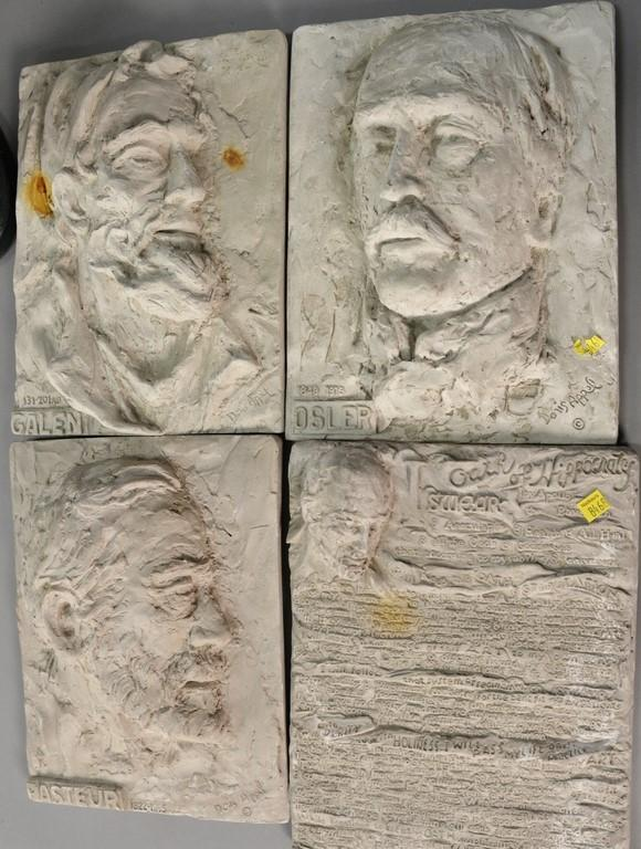 Seven plaster pieces to include Doris Appel plaques: Osler, Pasteur, Galen, and Oate of Hypocrisy (13