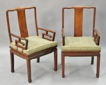Gentil Pair Of Chinese Hardwood Armchairs.