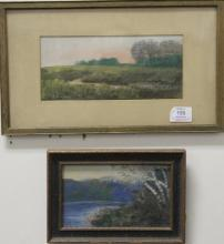 Harlan Paige Buckland  two mixed media on paper  Landscapes  signed lower left: H. Buckland  4 1/2