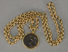 14K gold chain with pendant and coin copy. chain only: 13.3 grams