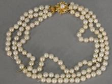 Pearl triple strand necklace with gold diamond and pearl clasp (one strand disconnected). lg. 13 1/2in.