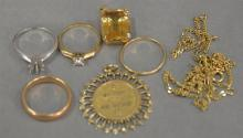 Seven piece lot of gold including 14K gold four rings and two pendants (total weight 16 grams) plus 18K chain (5.4 grams), total lot...