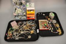 Two tray lots of jewelry and costume jewelry with some sterling and gold.