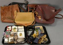 Group lot to include five leather purses, four are Coach, and two box lots with costume jewelry.