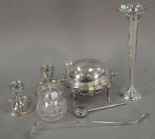Group of silver and silverplated items to include sterling trumpet vase (ht. 12in.), Hawk''s sugar with sterling top, small revolving..