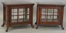 Pair of Contemporary glass top curio end tables, each with glass shelf. ht. 26in., top: 18