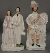 Pair of Staffordshire figures including Rob Roy and Prince & Princess, 19th century (crack). ht. 15 1/2in. & 18 1/2in.