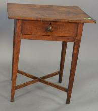 Federal one drawer stand with X stretcher base, circa 1800. top: 19 1/4