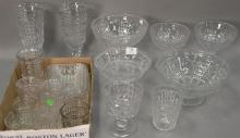Twenty-one piece Waffle pattern flint glass lot including six stemmed bowls, nest of three rectangular dishes, glassware and pair of...
