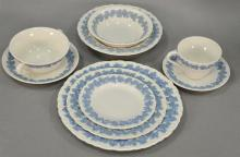 Large set of Wedgwood embossed Queen''s ware china marked on back Wedgwood for Etruria and Barlaston, 186 total pieces, complete serv..
