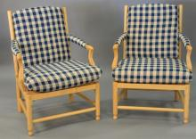 Pair of maple chairs with cushions.