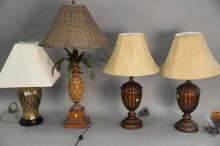 Four Contemporary table lamps including Pineapple style, pair of urn style, and a brass lamp. total height 24in. to 36in.
